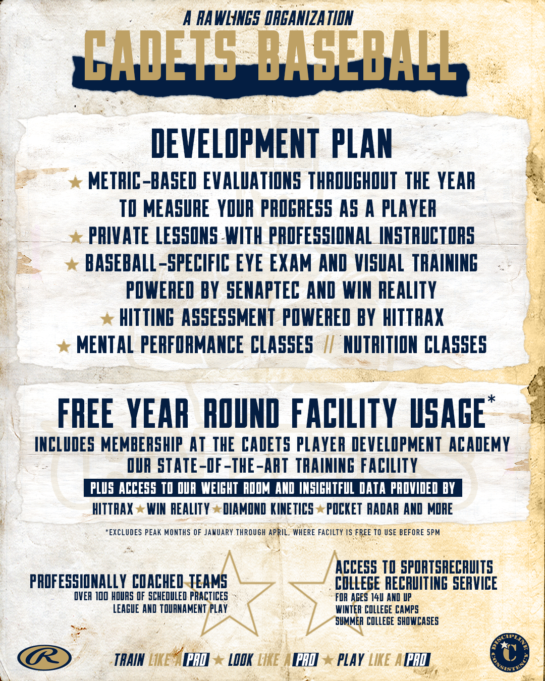 CADETS BASEBALL - DEVELOPMENT PLAN OFFERINGS