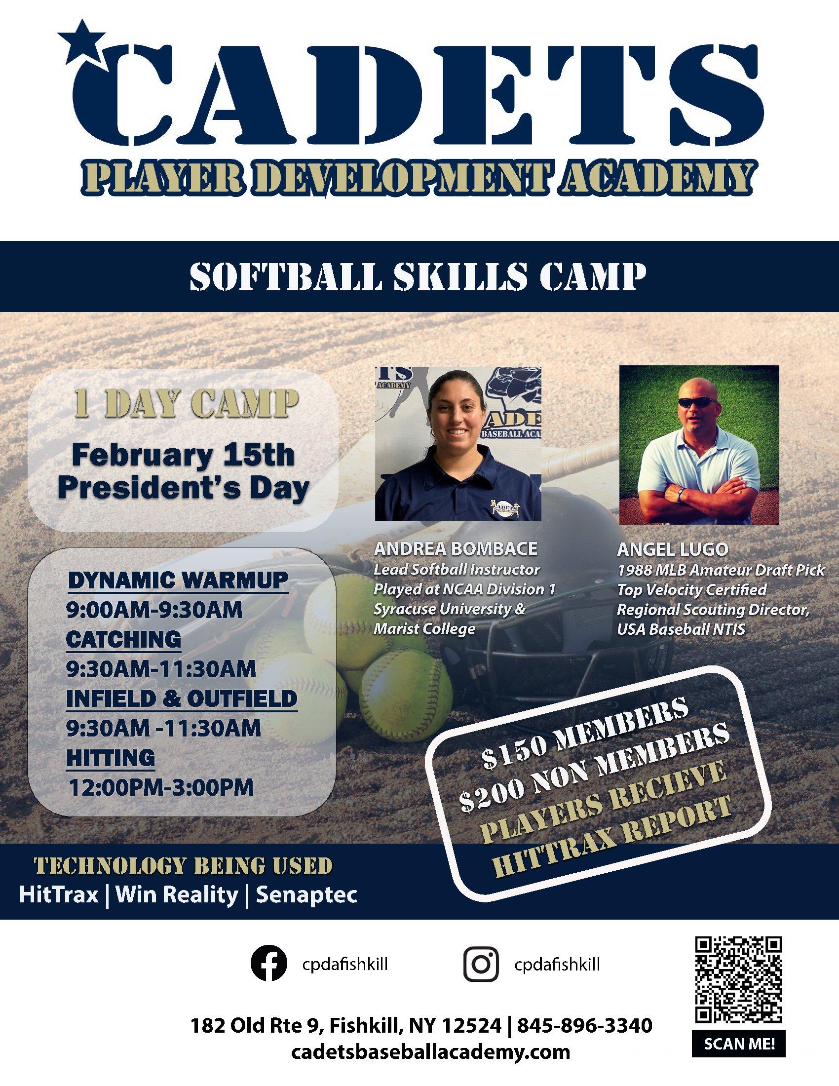 CPDA Presidents Day softball skills camp
