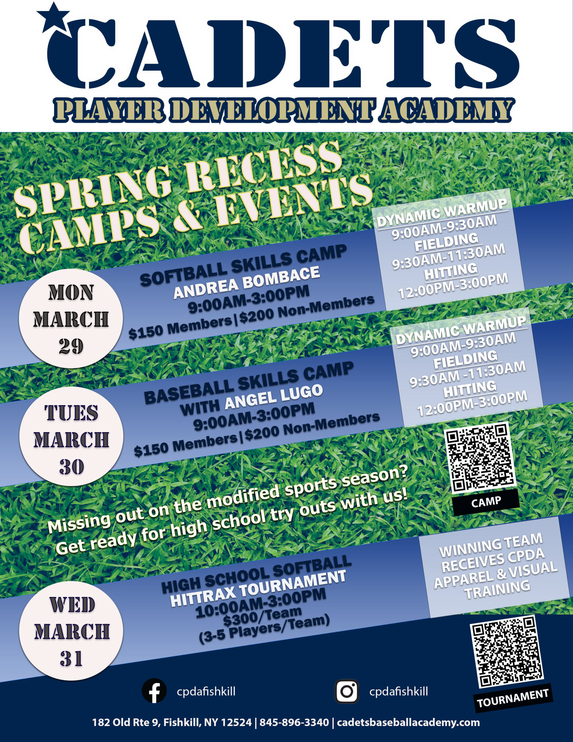 spring recess 3 events flyer
