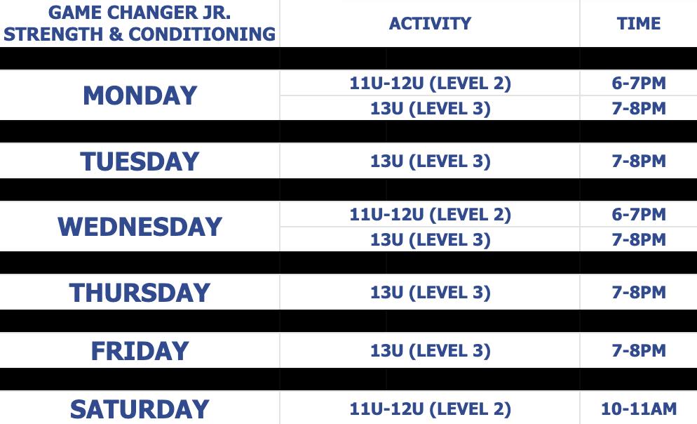 GC JR schedule thru april 2021