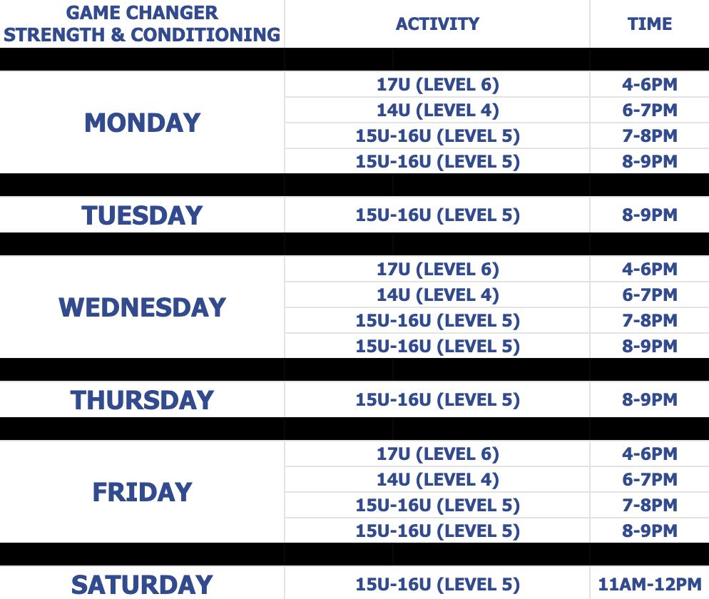 GC schedule thru april 2021